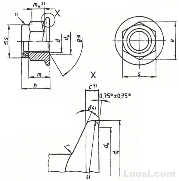 DIN EN 1663 非金属嵌件六角法兰面锁紧螺母