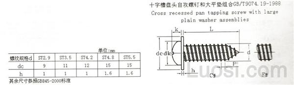 GB /T 9074.19-1988 十字槽盘头自攻螺钉和大平垫组合