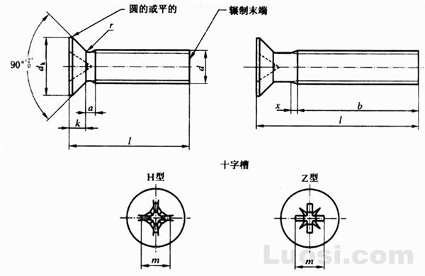 GB/T 819.1-2000 十字槽沉头螺钉 第1部分:钢4.8级