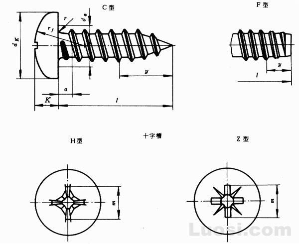 GB/T 845-85 十字槽盘头自攻螺钉