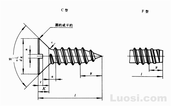 GB/T 5283-85 开槽沉头自攻螺钉