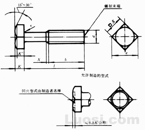 GB/T 8-88 方头螺栓 C级