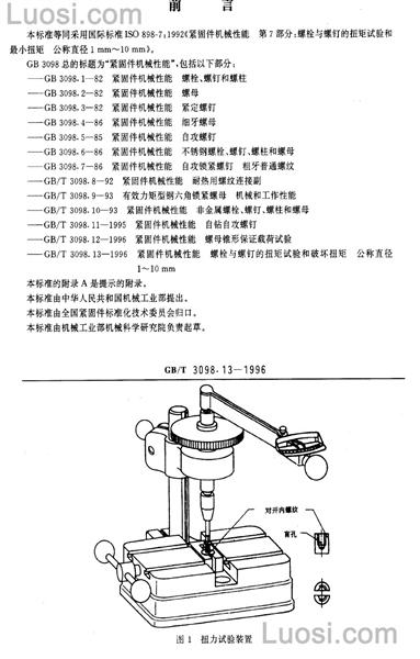 3098 GB/T 3098.13-1996 紧固件机械性能 螺栓与螺钉