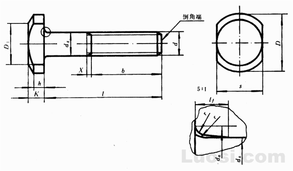 GB/T 794-93 加强半圆头方颈螺栓