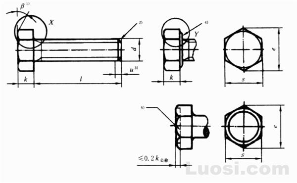 GB/T 5781-2000 六角头螺栓 全螺纹 C级