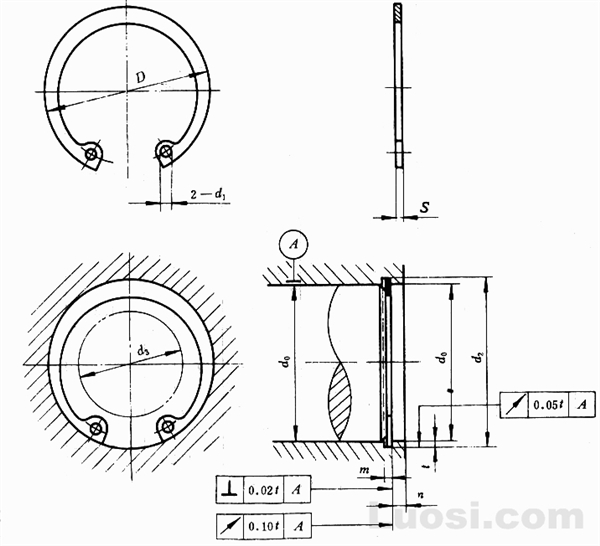 GB/T 893.1-86 孔用弹性挡圈-A型
