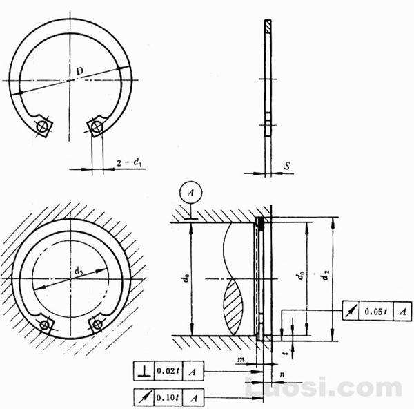 GB/T 893.2-86 孔用弹性挡圈-B型