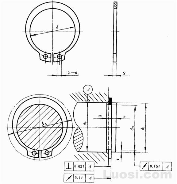 GB/T 894.2-86 轴用弹性挡圈-B型