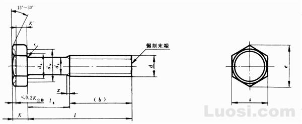 GB/T 5784-86 六角头螺栓-细杆-B级