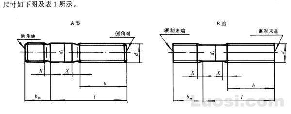 GB/T 899-88 双头螺柱 bm=1.5d