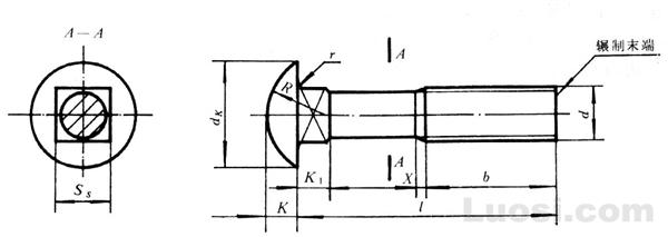 GB/T 12-88 半圆头方颈螺栓