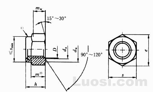 GB/T 6182-2000 2型非金属嵌件六角锁紧螺母