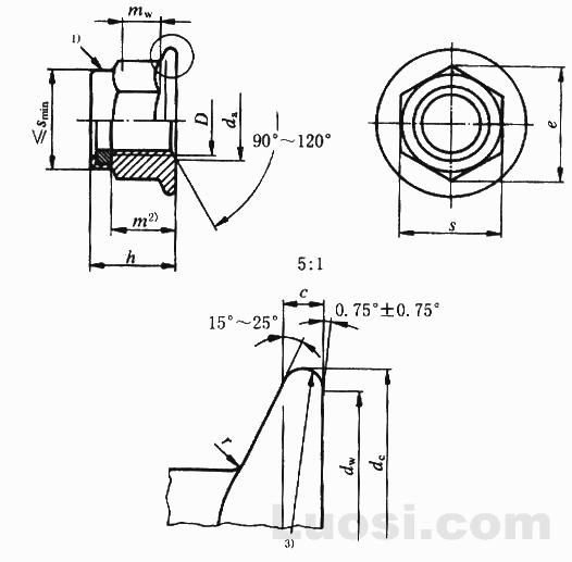 GB/T 6183.1-2000 非金属嵌件六角法兰面锁紧螺母