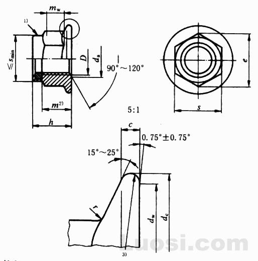 GB/T 6183.2-2000 非金属嵌件六角法兰面锁紧螺母 细牙