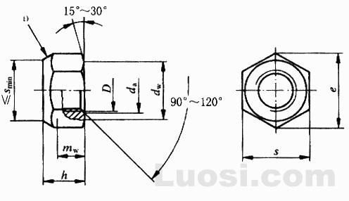 GB/T 6185.1-2000 2型全金属六角锁紧螺母