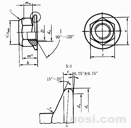 GB/T 6187.2-2000 全金属六角法兰面锁紧螺母 细牙