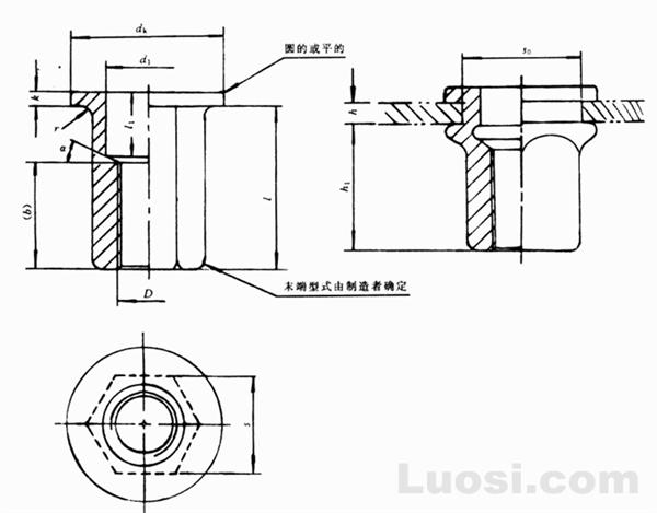 GB/T 17880.5-1999 平头六角铆螺母