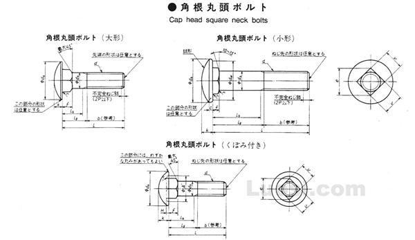 JIS B 1171-1996 大半圆头方颈螺栓