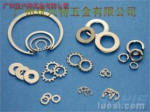 不锈钢弹垫圈、平垫圈、轴用弹性挡圈、E型垫圈、据齿形垫圈