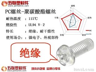 现货零售五联PC螺丝-聚碳酸酯螺丝1只起卖