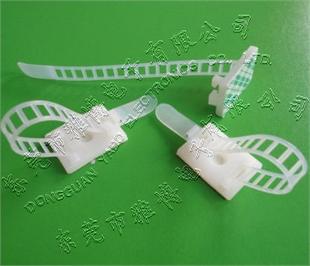表带式固线扣、ATC-17东莞塑胶固定座3M背胶、梯形带绑带式螺丝孔座