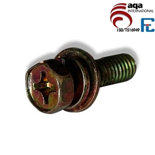 GB/T 9074.13-88 十字槽凹穴六角头螺栓、弹簧垫圈和平垫圈组合