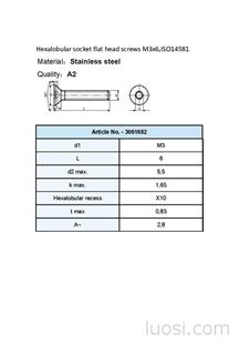 ISO 14581沉头梅花槽螺丝