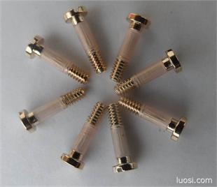 厂家直销,优质供应:眼镜螺丝-镀金套胶螺丝