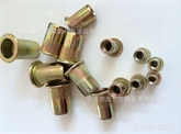 碳钢镀彩锌平头圆柱竖纹铆螺母, 平头光身拉铆螺母, 无滚花铆螺母平圆头