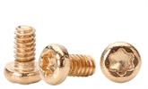 1.4*2.5mm梅花槽盘头金色手机螺丝、微型螺丝,家电螺丝,深圳世世通非标异型定制螺丝生产厂家