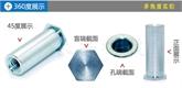 厂家直销压铆螺柱六角通孔环保蓝白锌镀锌压板螺母柱 英制SO-440/632/832